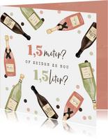 Verjaardagskaart wijn confetti corona confetti