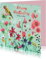 Verjaardagskaart wilde bloemen