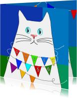Verjaardagskaart witte kat met feestvlaggetjes
