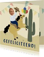 Verjaardagskaart woestijn met paard, cactus en foto's