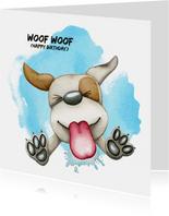 Verjaardagskaart Woof Woof likkende hond
