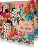 Verjaardagskaart zebra met botanisch bloemen