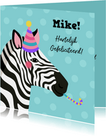 Verjaardagskaart zebra met feesthoed