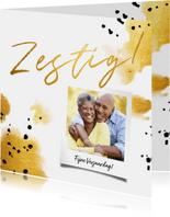 Verjaardagskaart 'zestig' met polaroid en gouden waterverf