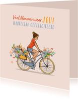 Verjaardagskaart zomer meisje op fiets
