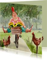 Verjaardagskaart zonnebloemen op de fiets