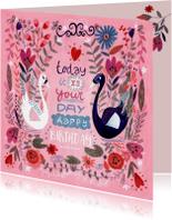 Verjaardagskaart zwanen en bloemen