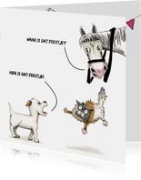 Verjaardagskaarten blaffende Odey en springende kat en paard