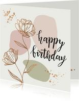 Verjaardagskaarten - Bloemen in goudlook