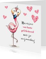 Verjaardagskaarten flamingo van harte