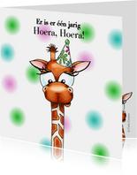 Verjaardagskaarten giraffe met feesthoedje