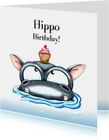 verjaardagskaarten hippo birthday