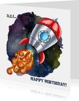 Verjaardagskaarten Raket in de Ruimte