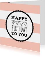 Verjaardagskaartje Roze Vlag -WW