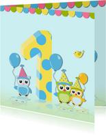 Verjaardagskaart uil met ballonnen
