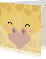 Vierkant kaartje met een gezicht van een Giraffe, groetjes!
