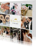 Vierkante fotocollage bedankkaart huwelijk met 8 foto's