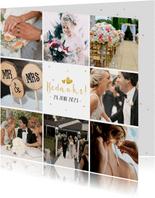Vierkante fotocollage kaart met  8 vierkante foto's en tekst