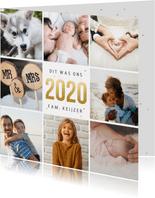Vierkante fotocollage terugblik 2020 kerstkaart met 8 foto's