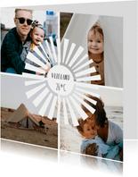 Vierkante fotocollage vakantiekaart met 4 foto's en zonnetje