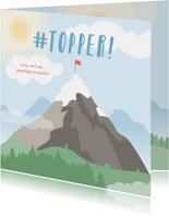 Vierkante kaart met grote berg met een vlag erop #topper