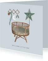 Vintage felicitatiekaartje geboorte met wieg en wandrekje