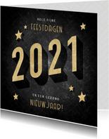 Vintage kerstkaart goudlook 2021, sterren en patroon