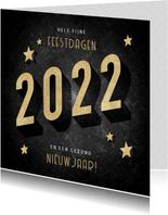 Vintage kerstkaart goudlook 2022, sterren en patroon