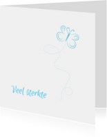 Vlinder condoleancekaart blauw