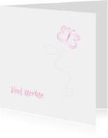 vlinder roze condoleancekaart