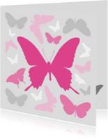 Vlinders roze met grijs