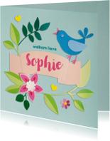 Vogel en bloemen felicitatie geboorte
