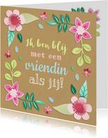 Vriendinnenkaart met bloemen