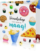 Vriendschap kaart met lekker eten sushi donuts cupcakes