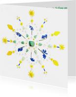 Vriendschapskaart lente mandala met gele bloemen