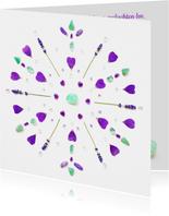Vriendschapskaart mandala met fluoriet amethist en lavendel