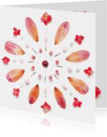 Vriendschapskaart mandala met hortensia in aardetinten