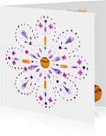 Vriendschapskaart mandala met jaspis amethist en bloemen