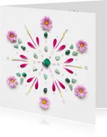 Vriendschapskaart mandala met malachiet en roze bloemen