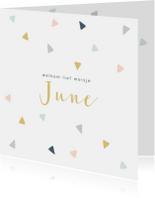 Vrolijk geboortekaartje met gekleurde driehoekjes