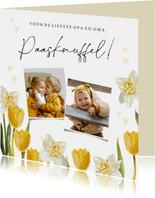 Vrolijk paaskaart met voorjaarsbloemen en foto's