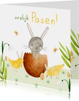 Vrolijk paaskaartje eieren kuiken konijn bloemen groen geel