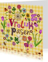 Vrolijk Pasen Letters Bloemen Kuiken