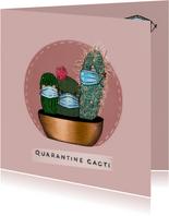 Vrolijke beterschapskaart van cactussen met mondkapjes