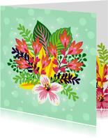 Vrolijke bloemenkaart met een bos bloemen