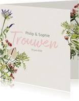 Vrolijke bloemrijke trouwkaart
