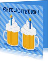 Vrolijke en grappige verjaardagskaart met bier