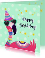 Vrolijke en grappige verjaardagskaart met flamingo met bril