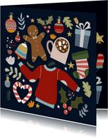 Vrolijke en hippe kerstkaart met kerst illustraties