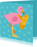 Vrolijke en kleurrijke dierenkaart met baby flamingo